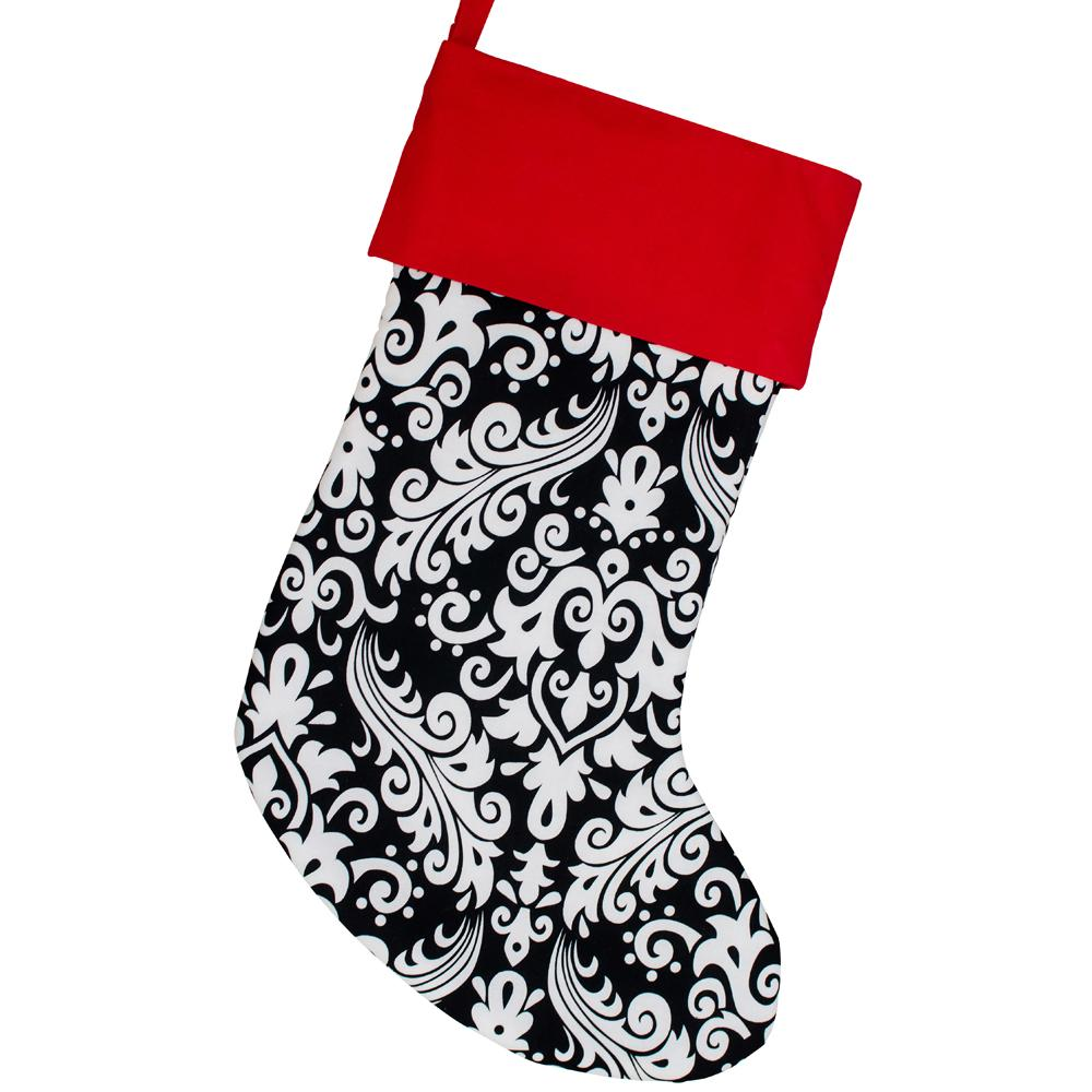 Large Christmas Stocking -- Black and Pink Damask -- Embroidered Stocking Option Available