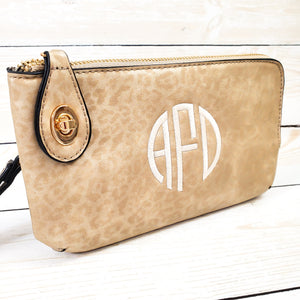 Cheetah Print Clutch Monogrammed Vegan Leather Clutch with Twist Lock Crossbody Purse Bridesmaid Gift - Gold