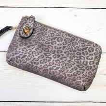 Cheetah Print Clutch Monogrammed Vegan Leather Clutch with Twist Lock Crossbody Purse Bridesmaid Gift - Pewter