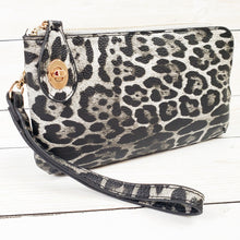 Leopard Print Clutch Monogrammed Vegan Leather Clutch with Twist Lock Crossbody Purse Bridesmaid Gift - Gray