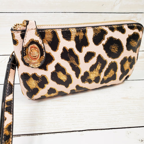 Leopard Print Clutch Monogrammed Vegan Leather Clutch with Twist Lock Crossbody Purse Bridesmaid Gift - Black and Gold