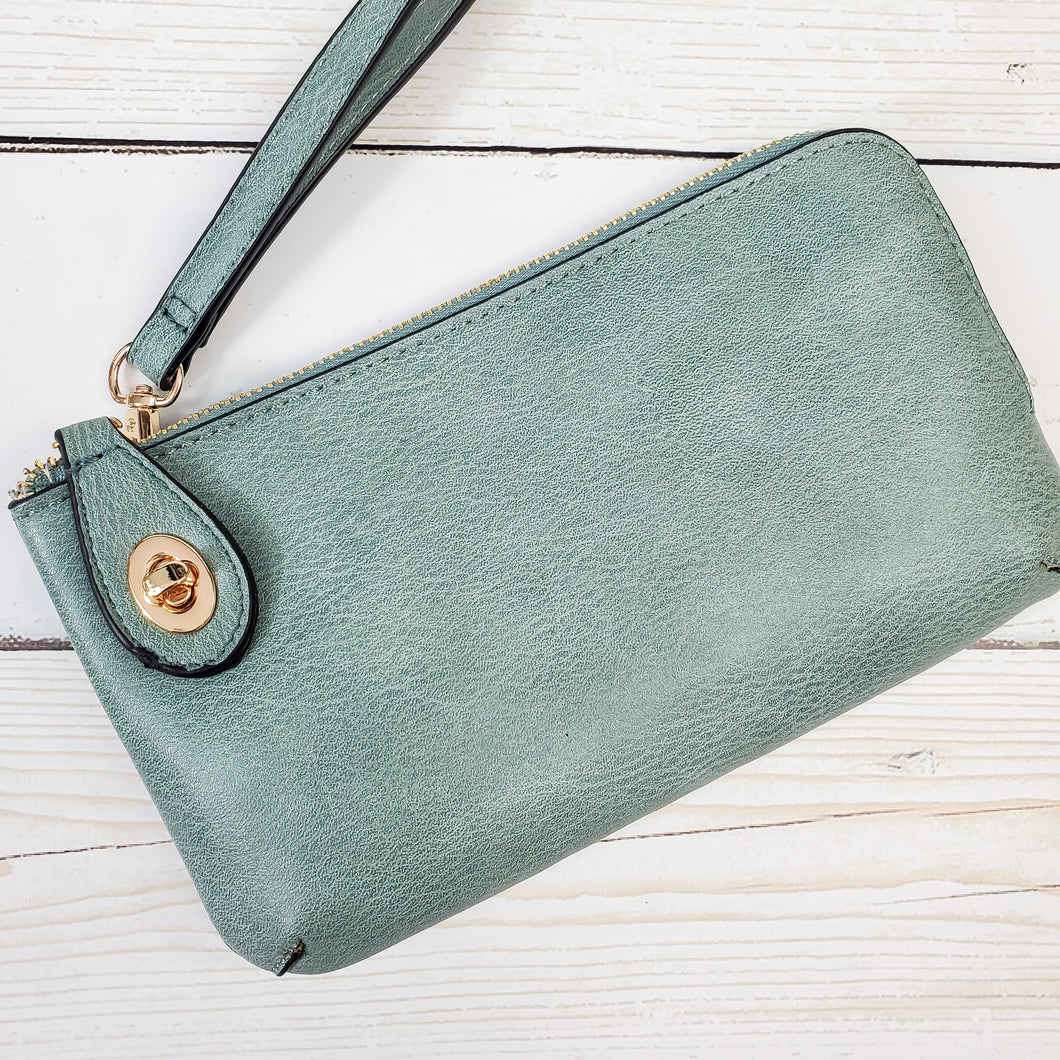 Monogrammed Vegan Leather Clutch with Twist Lock Crossbody Purse Bridesmaid Gift - Teal