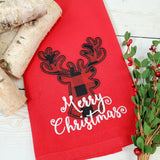 Reindeer Buffalo Plaid Applique Kitchen Towel - Red Christmas Tea Towel - Farmhouse Decor