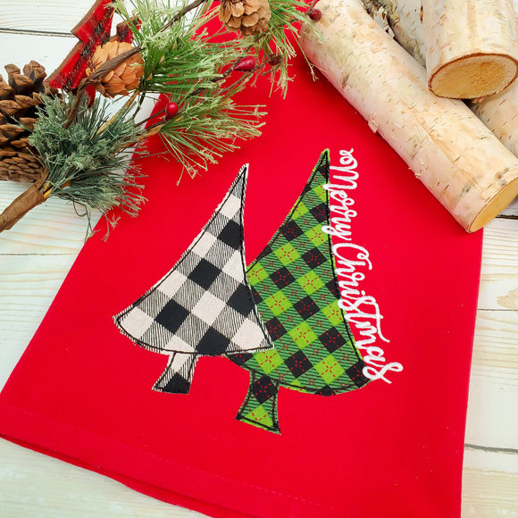 Christmas Tree Applique Kitchen Towel - Red Christmas Tea Towel - Farmhouse Decor