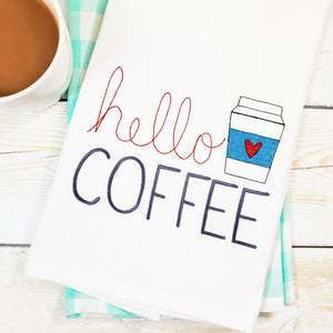 Hello Coffee Kitchen Towel - Tea Towel