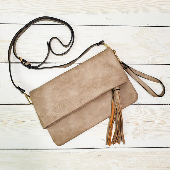 Flapover Crossbody Clutch with Tassel -  Vegan Leather - 3 Colors