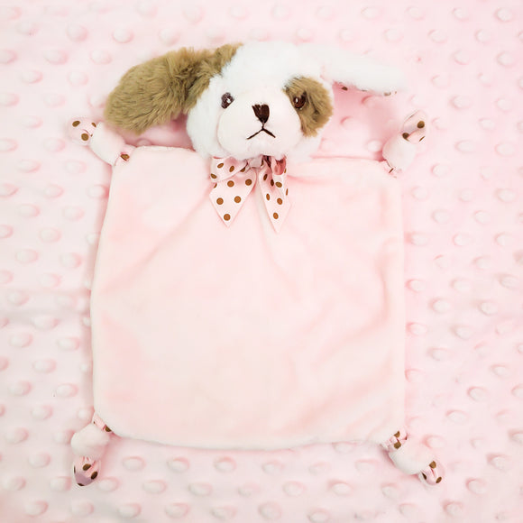 Wee Lovey - Bearington Collection - Small Minky Baby Blanket - Personalized Baby Gift --Pink Puppy