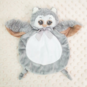 Wee Lovey - Bearington Collection - Small Minky Baby Blanket - Personalized Baby Gift --Gray Owl