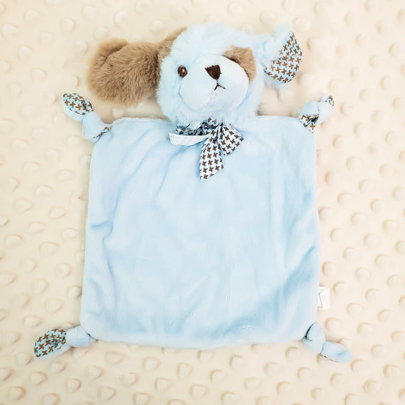Wee Lovey - Bearington Collection - Small Minky Baby Blanket - Personalized Baby Gift -- Blue Puppy Dog