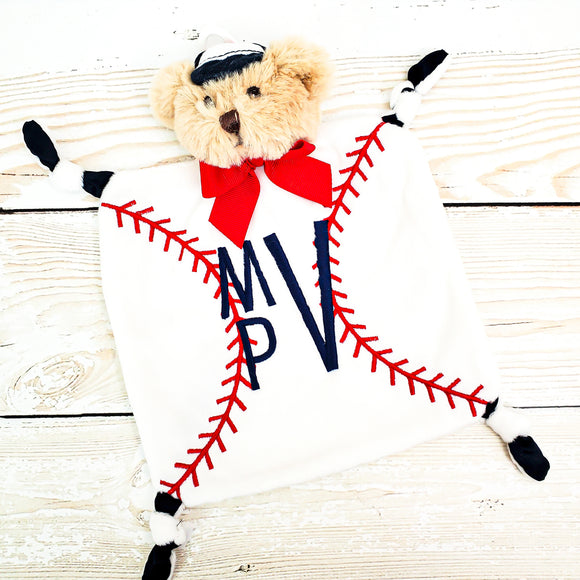 Wee Lovey - Bearington Collection - Small Minky Baby Blanket - Personalized Baby Gift --Lil Slugger Baseball