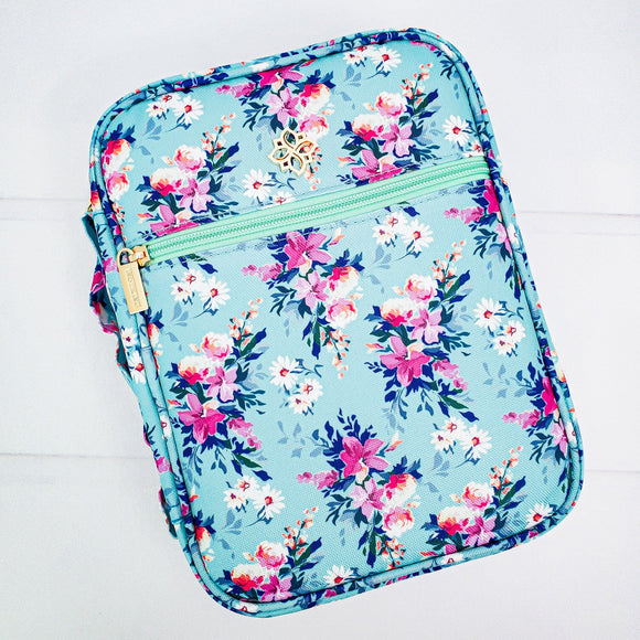 Bible Cover - Teal and Pink Floral Book Cover - Organizer