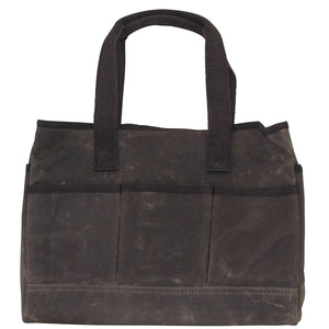 Waxed Canvas Utility Tote - Father's Day Gift - Gift for Men - Olive Brown