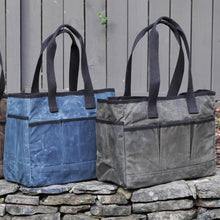 Waxed Canvas Utility Tote - Father's Day Gift - Gift for Men - Navy Blue