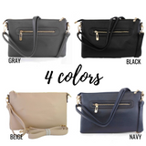 Crossbody Zipper Purse with Wristlet Strap - 4 Colors