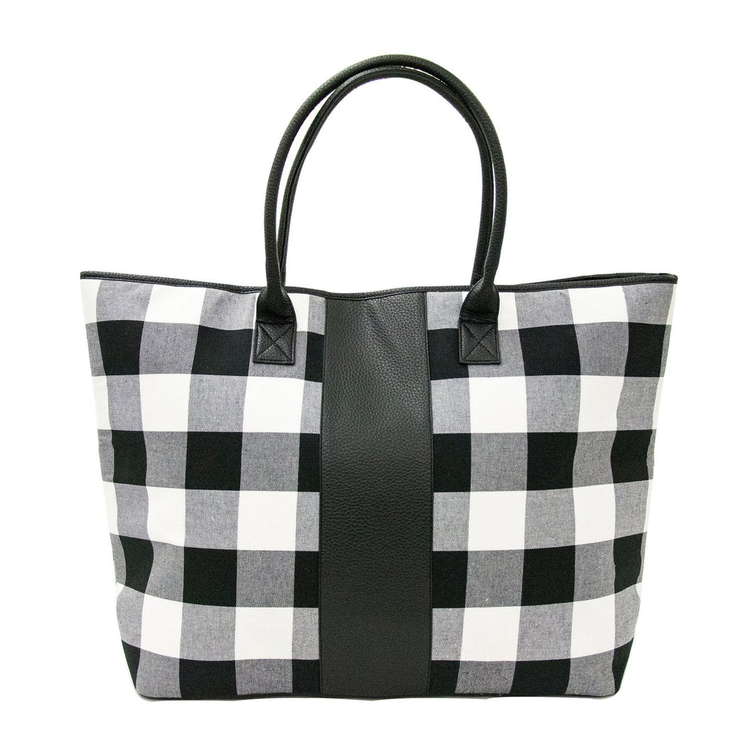 Buffalo Plaid Tote - Black and White