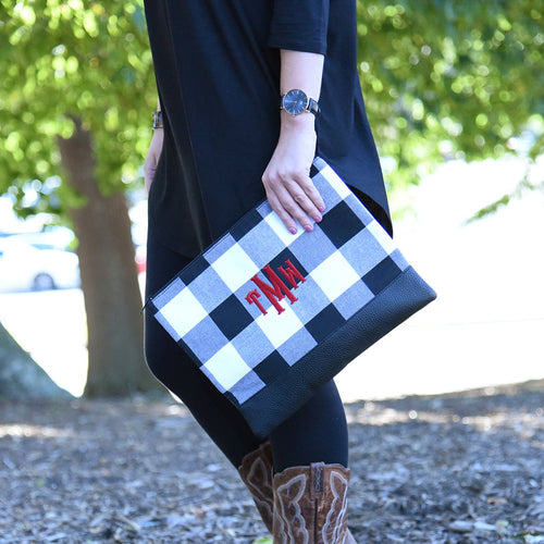 Buffalo Plaid Pouch - Black and White