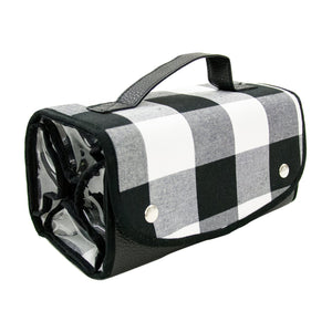 Buffalo Plaid Roll Up Travel Case - Black and White