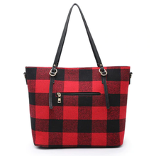 Buffalo Plaid Tote - Black and Red or White and Black
