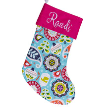 Large Holiday Stocking | Bright Blue Ornaments | Hot Pink Stocking | Personalized Stocking Option Available