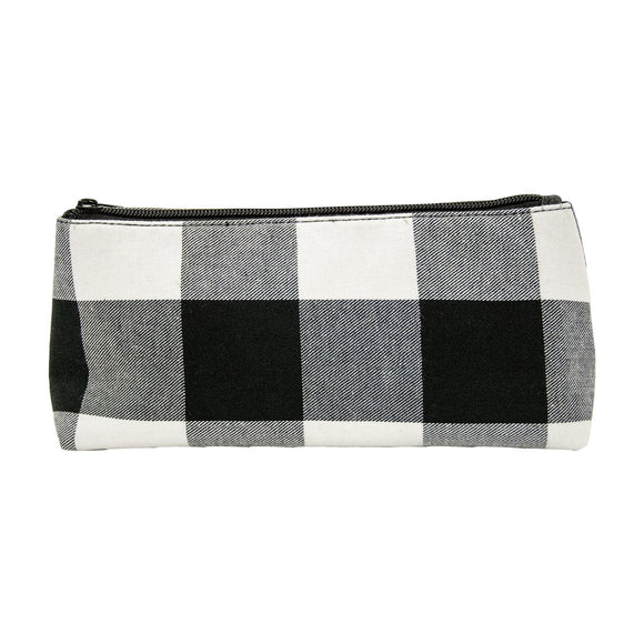 Black and White Buffalo Check Grab N Go Pouch Makeup Bag Travel Accessory