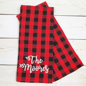 Kitchen Towel Set of Two -- Buffalo Check -- Monogrammed Farmhouse Decor - Black & Red