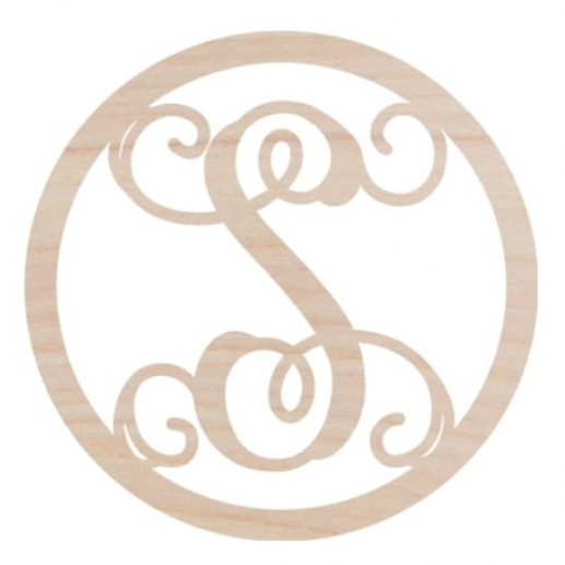 Wooden Monogram -- Circle Single Letter Vine Monogram