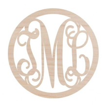 Wooden Monogram -- Circle Three Letter Vine Monogram