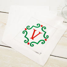 Hemstitch Linen Cocktail Napkins - 2 Styles - Set of Four (4) - White - Christmas Monograms