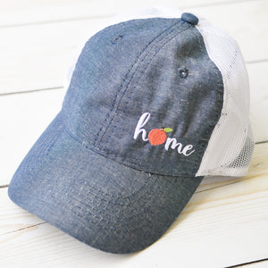 Ladies Mesh Back Chambray Trucker Hat - Georgia Peach Home Design