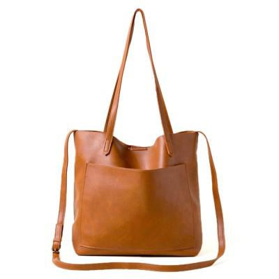 Soft Vegan Leather Shoulder Bag / Crossbody Tote - 2 Colors