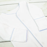 Newborn Gown - White with Blue or Pink Picot Trim