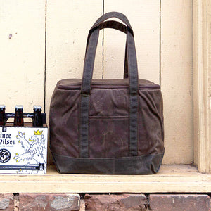 Waxed Canvas Cooler Tote - Khaki Brown