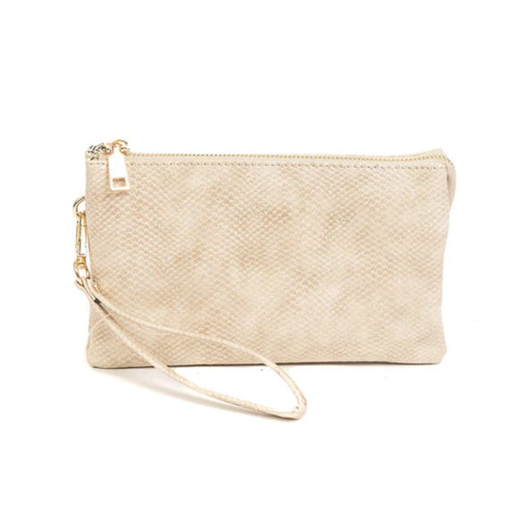 Crossbody Clutch - Vegan Leather - Ivory Snake Skin