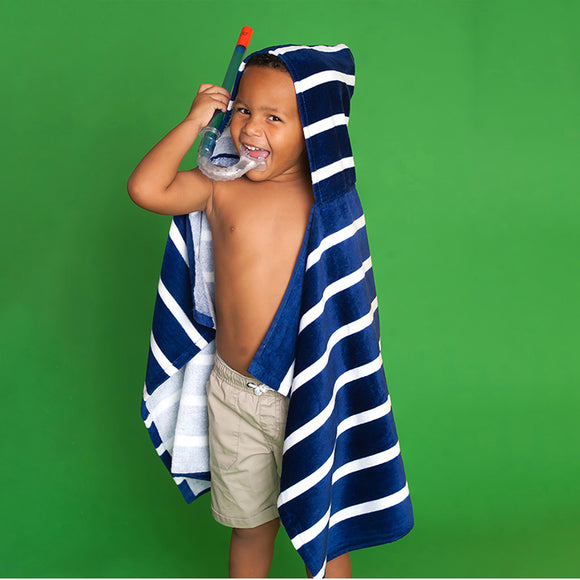 Kids Hooded Towel - Navy Stripe