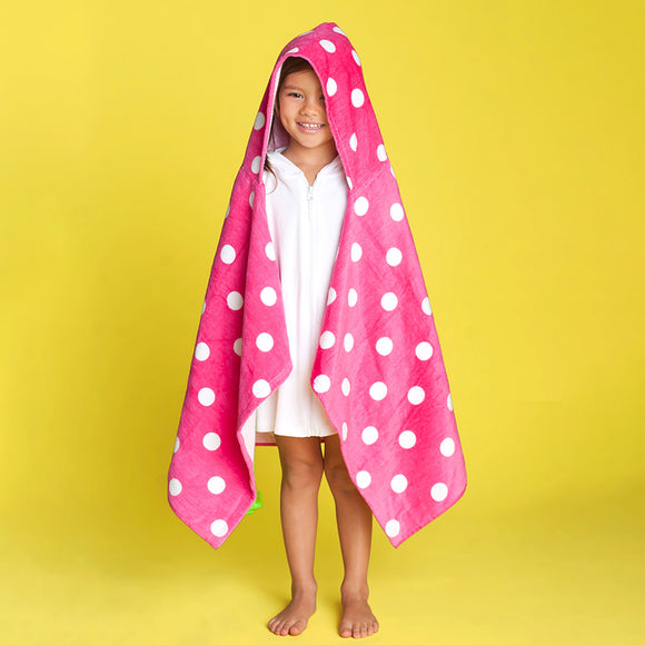 Kids Hooded Towel - Pink Dot