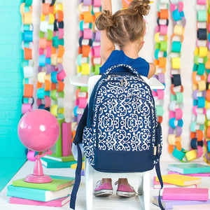 Backpacks for Girls - Navy Blue and White Floral - Book Bag - Back to School