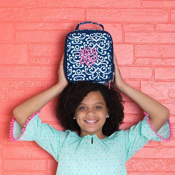 Girls Lunch Box - Dani - Navy and White Floral Paisley