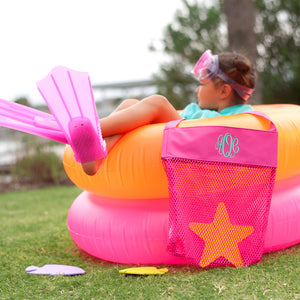 Mesh Beach Toy or Seashell Tote - Hot Pink, Navy, Or Mint