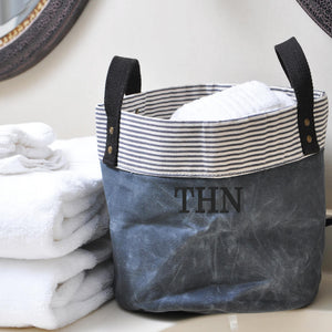 Waxed Canvas Storage Bins - Monogrammed Farmhouse Home Decor - Gifts for Men - Navy Blue