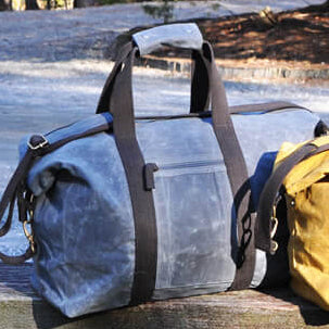 Waxed Canvas Weekend Duffle - Navy