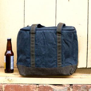 Waxed Canvas Cooler Tote - Navy Blue