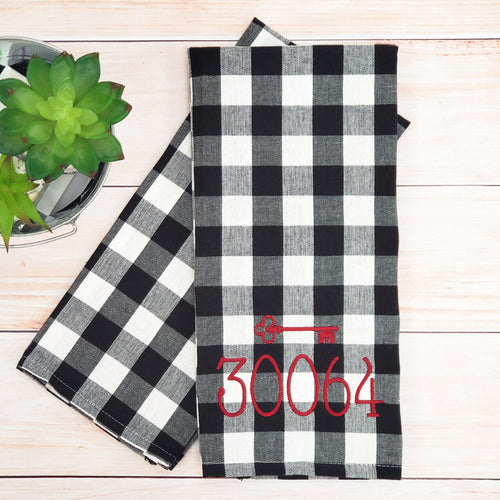 Zip Code Kitchen Towel -- Buffalo Check -- Monogrammed Farmhouse Decor