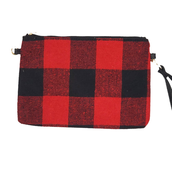 Crossbody Clutch Wristlet -- Buffalo Plaid -- Black/White or Red