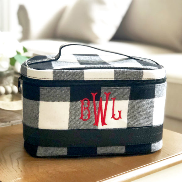 Buffalo Plaid Train Case Cosmetic Travel Bag - Black and White