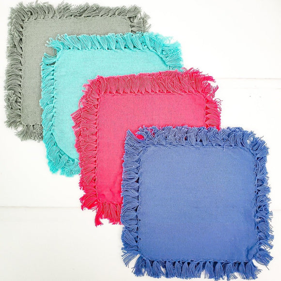 Fringe Cocktail Napkins Set of Four - 4 Colors