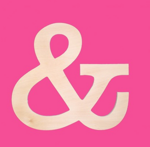 "Wooden Monogram -- 18"" Ampersand"