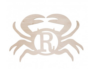 Wooden Monogram -- Crab -- Single Initial