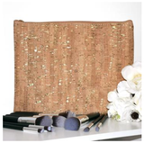 Cork Zippered Pouch - Gold Accents