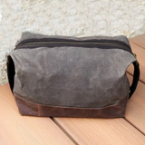 Waxed Canvas Toiletry Bag -- Brown
