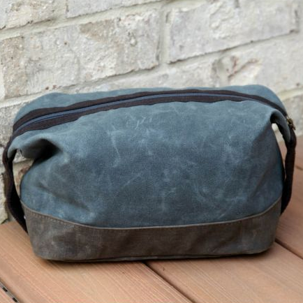 Waxed Canvas Toiletry Bag -- Navy